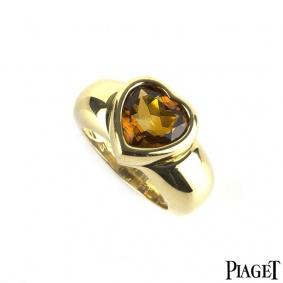 Piaget 18k Yellow Gold Orange Citrine Heart Ring Size M